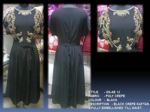 Black Crepe Kaftan & Fully Embellished Till Waist