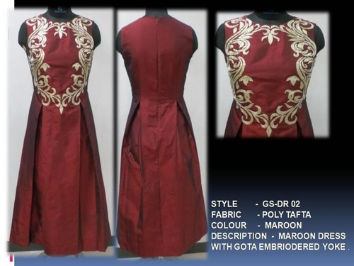 Maroon Dress With Gota Embriodered Yoke