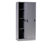 Full Height Sliding Steel Cupboard With 3 Adjustable Shelves
