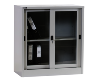 Low Height Sliding Glass Cupboard With 1 Adjustable Shelf