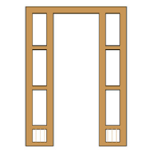 Wooden Door Frame With Window Frame
