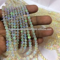 Natural White Ethiopian Welo Opal Faceted Round Ball Beads Strand