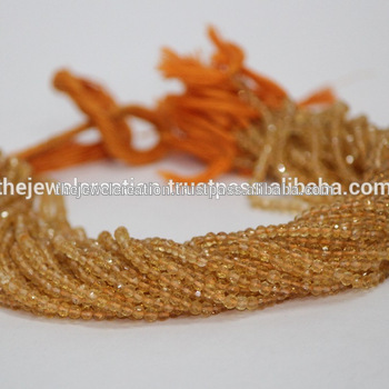 Natural Citrine Faceted Round Ball Beads Strand Wholesale