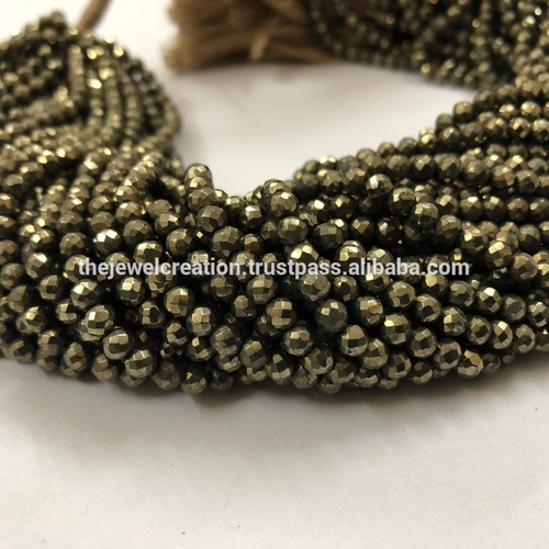 Natural Pyrite Micro Faceted Round Ball Beads 4mm