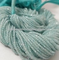 Natural 2mm Blue Aquamarine Stone Micro Faceted Beads Strand Lot