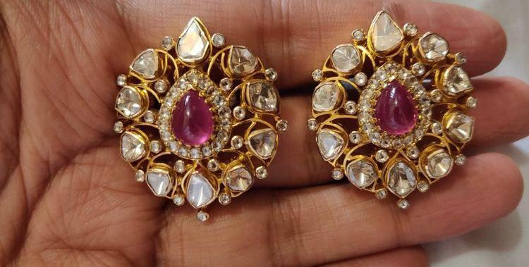 c3852f90c5745 Kundan Polki Ruby Earrings - NAKKASH JEWELLERY, B-1, C-49, Vidhya ...