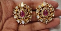 Kundan Polki Ruby Earrings