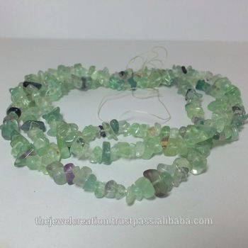 Natural Fluorite Rough Uncut Chips Bead Strand Necklace
