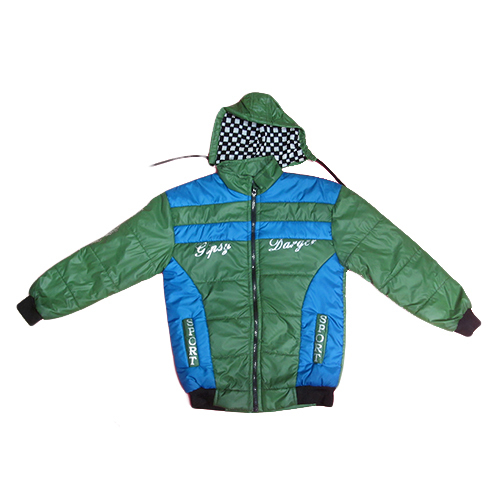 Green blue full sleeve winter jacket