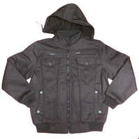 Hooded artificial leather Jacket