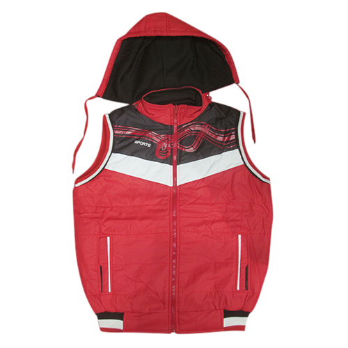 Red Casual Sleeveless winter Jacket