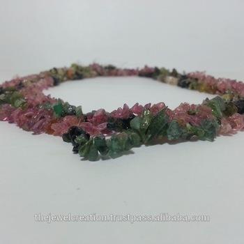 Natural Watermelon Tourmaline Rough Uncut Chips Beads Strand