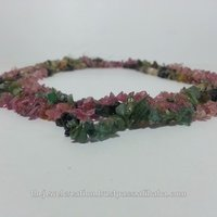 Natural Watermelon Tourmaline Rough Uncut Chips Beads Strand