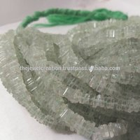 Natural Green Amethyst Heishi Square Beads