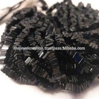Natural Black Spinel Heishi Square Beads