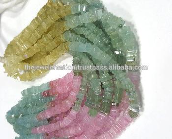 Natural Multi Aquamarine Heishi Square Beads