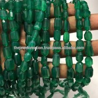 Natural AAA Green Onyx Faceted Tumble Beads
