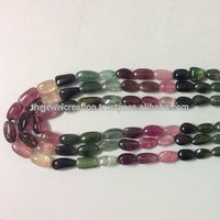 Natural Multi Watermelon Tourmaline Stone Plain Smooth Tumble Shape Beads Lot