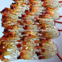 Natural AAA Orange Mexican Fire Opal Faceted Tumble Nuggets Gemstone Bead
