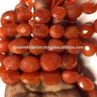 Natural Carnelian Faceted Tumble Nuggets Gemstone Bead Strand