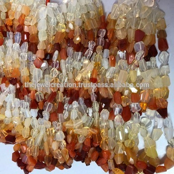 Natural Mexican Fire Opal Orange Faceted Tumble Nuggets Gemstone Beads