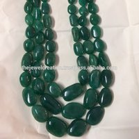 100% Natural Emerald Stone Smooth Tumble Shape Gemstone Bead