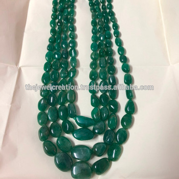 Natural Emerald Stone Plain Smooth Tumble Gemstone Beads Necklace