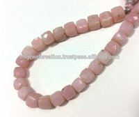 Natural Pink Opal Gemstone Faceted Box Cube Beads