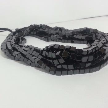 Natural Black Spinel Plain Box Cube Beads Gemstone Bead