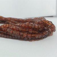 Natural Hassonite Garnet Plain Box Cube Beads Brown