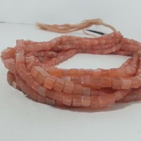 Natural Peach Moonstone Plain Cube Box Beads Gems