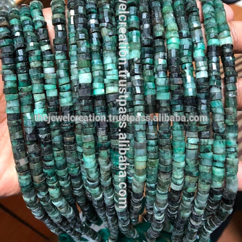 Natural Emerald Stone Heish Tyre Shape Beads Step Cutting 4 to 6mm