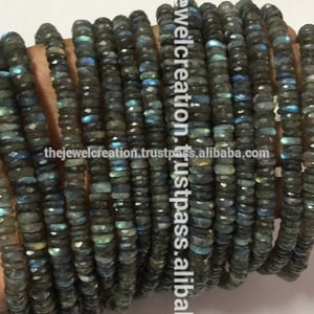 Natural Labradorite Faceted Heishi Tyre Shape Cutting Flat Beads