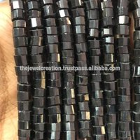 Natural Black Spinel Step Cutting Faceted Tyre Heishi Beads