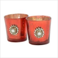 Silver Glass Votive with Jewel Brooch(Set of 2)