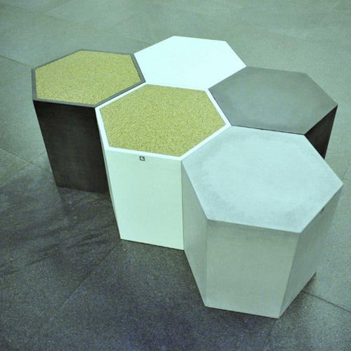 Architectural Hexagon Shaped Stool