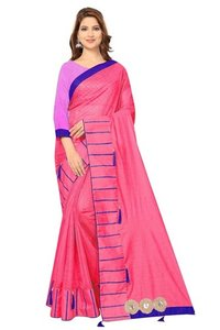 Pure Soft Polyester Saree And Design Butta Work With Jhalar