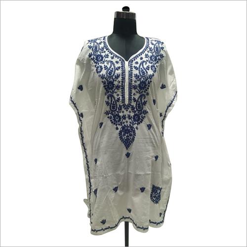 Cotton Handmade Chikankari Embroidery Kaftan