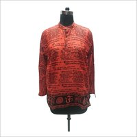 Mens Cotton Aakhbar Print Short Kurta
