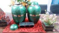 Brass Engraving Green Urn