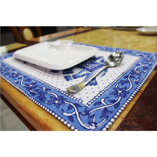 Handmade Indian Cotton Fabric Home Decoration Custom Colorful Design Block Print Decorative Cotton Dinner Table Napkin & Mat Set