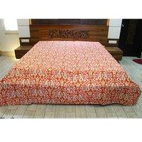 Kantha Embroidered Work Vintage Tapestry Orange Color Kalli and Floral Printed Wall Hanging and Bed spread Bedsheet
