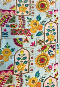 Embroidery Work With Digital Printed Fabric
