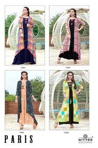 Heavy Rayon Print Long Designer Kurtis