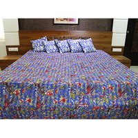 Indian Beautifully Floral Printed 100% Cotton Fabric Kantha Handmade Embroidered Wall Tapestry Blue Color Bedsheet Bedspread