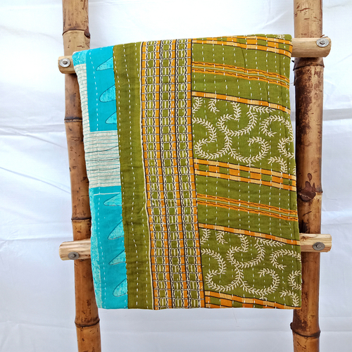 Indian Silk Saree Vintage Kantha Reusable Bed Sheet Bedspread Embroidered Patchwork Twin Size Tapestry Quilt