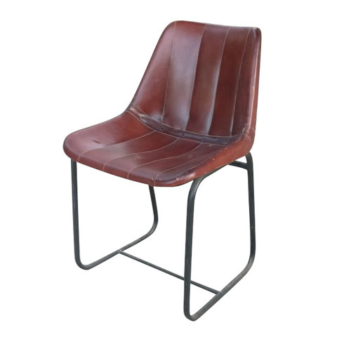 Wrought Iron Simple Leather Chair