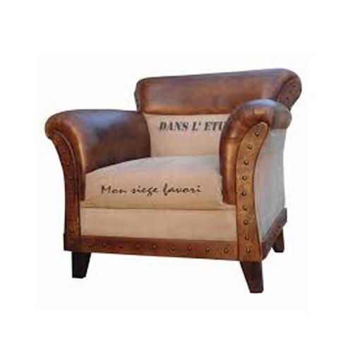 Single Seater Printed Leather Sofa