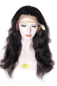 women hair wig 100% remy human hair front lace wig Natural black/Dark Brown Women wig