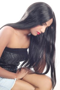 human hair wig long straight hair